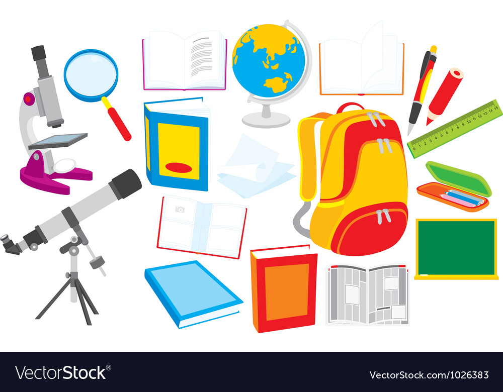 School objects vector | Price: 1 Credit (USD $1)
