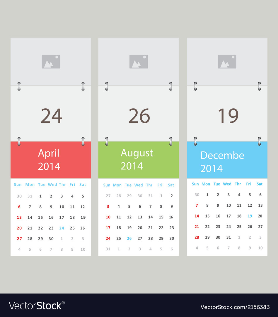 Three calendar vector | Price: 1 Credit (USD $1)