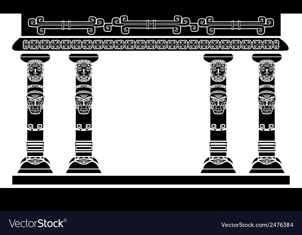 American indian temple columns with ritual masks vector | Price: 1 Credit (USD $1)