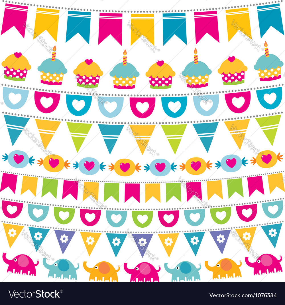 Birthday bunting flags set vector | Price: 1 Credit (USD $1)