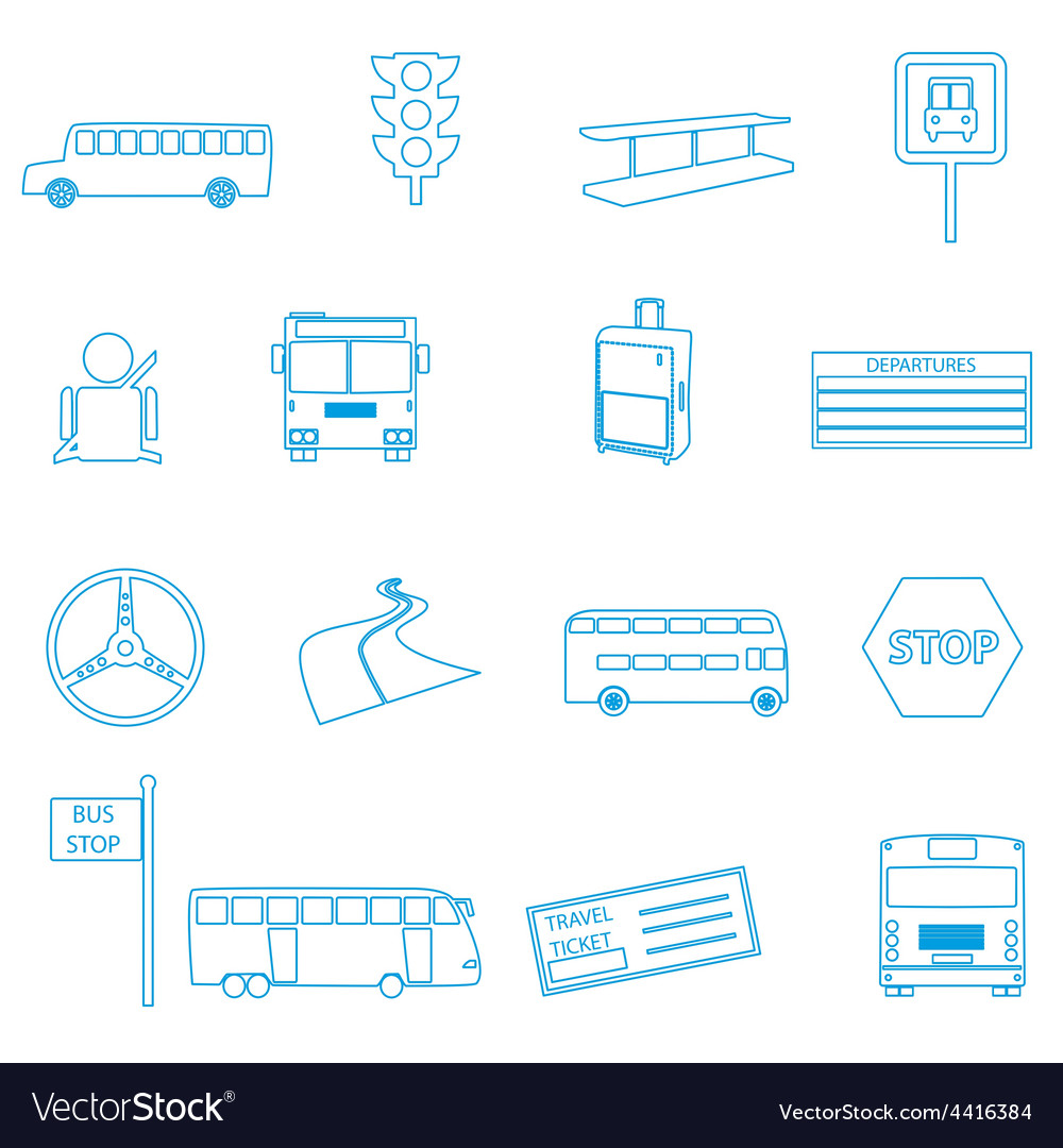Bus transport simple outline icons set eps10 vector | Price: 1 Credit (USD $1)