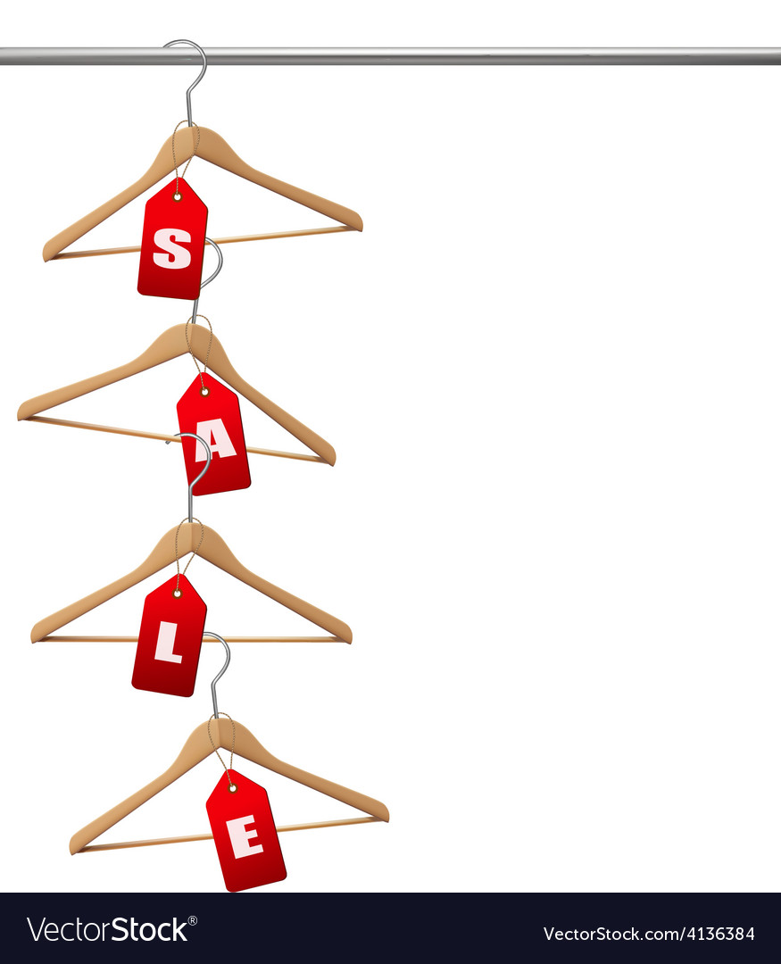 Coat hangers on a clothes rail discount promotion vector | Price: 1 Credit (USD $1)