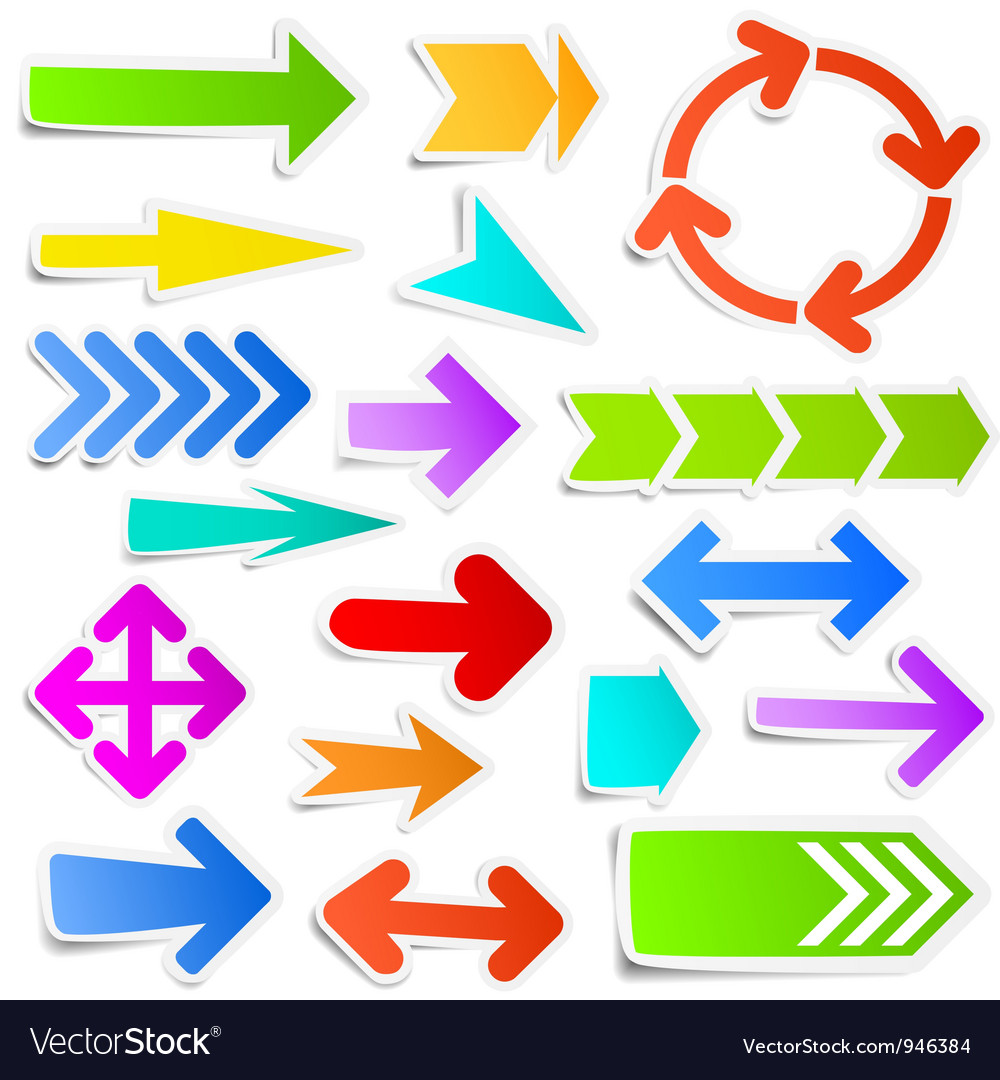 Colourful arrow stickers vector | Price: 1 Credit (USD $1)