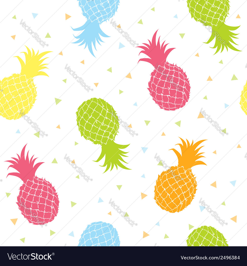 Fresh pineapples colorful seamless texture pattern vector | Price: 1 Credit (USD $1)