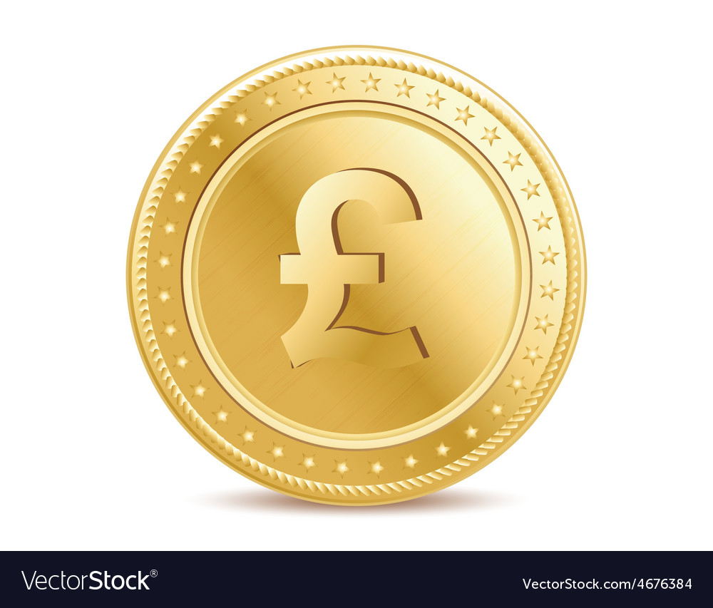 Golden pound sterling coin on the white background vector | Price: 1 Credit (USD $1)