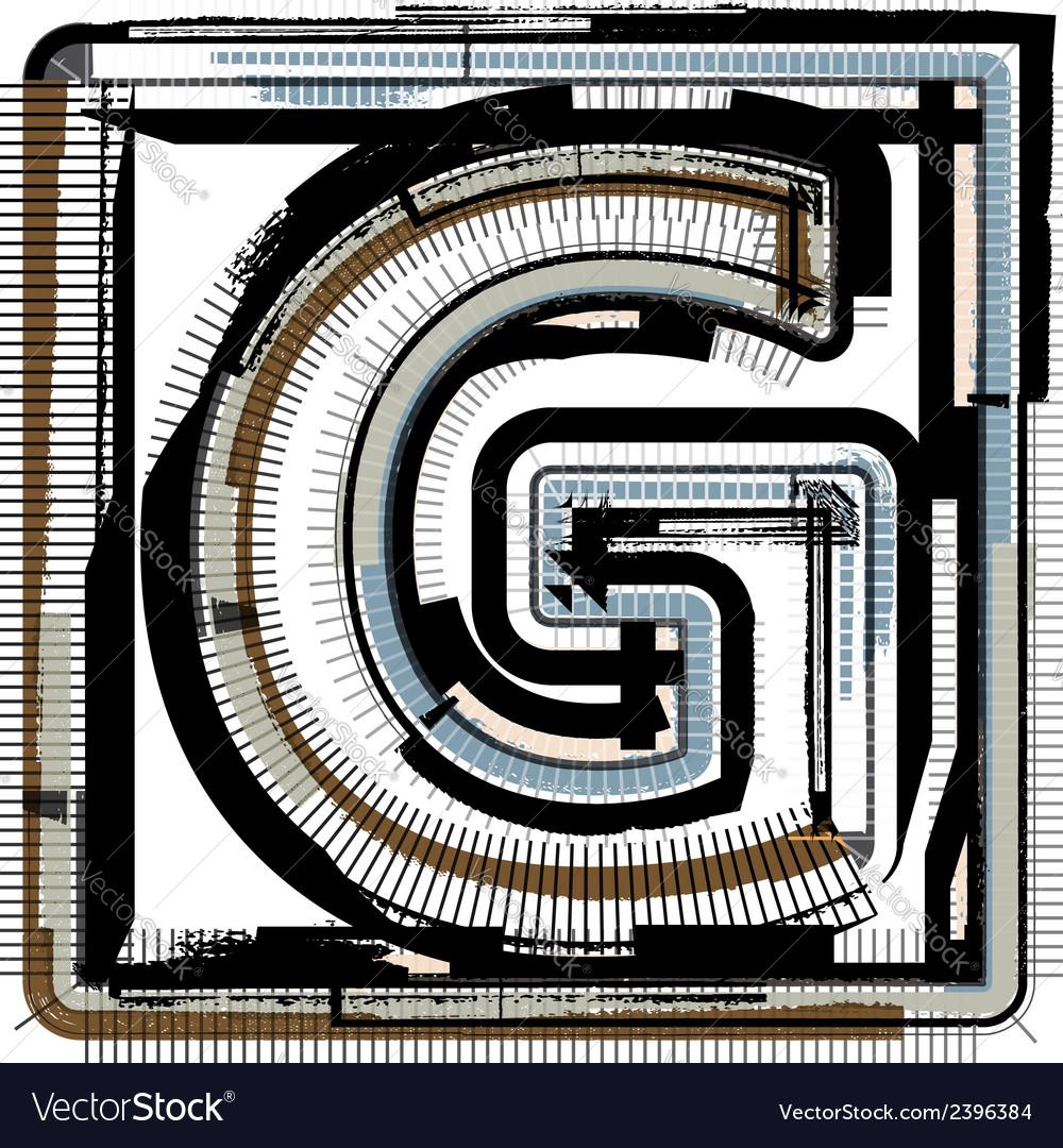 Grunge font letter g vector | Price: 1 Credit (USD $1)