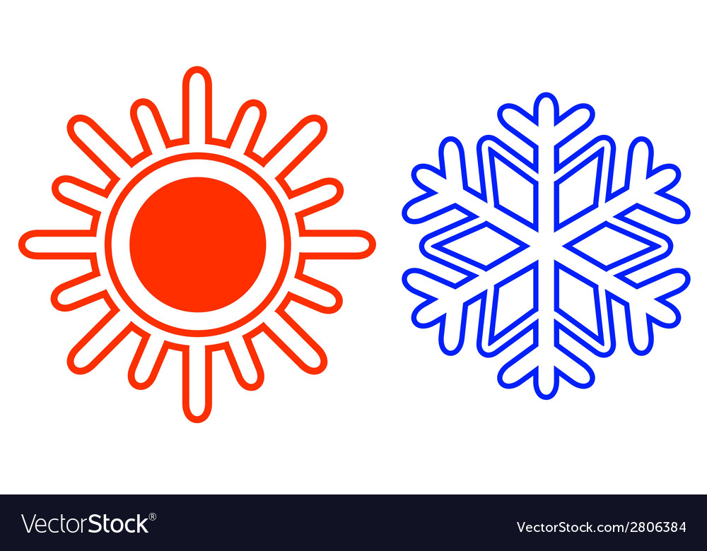 Isolated sun and snowflake vector | Price: 1 Credit (USD $1)