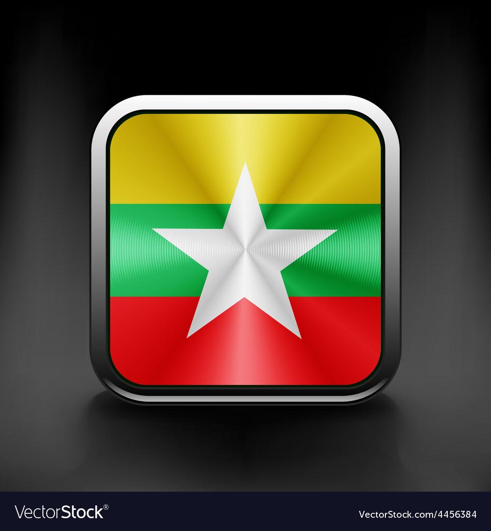 Myanmar flag burma territory state icon vector | Price: 1 Credit (USD $1)