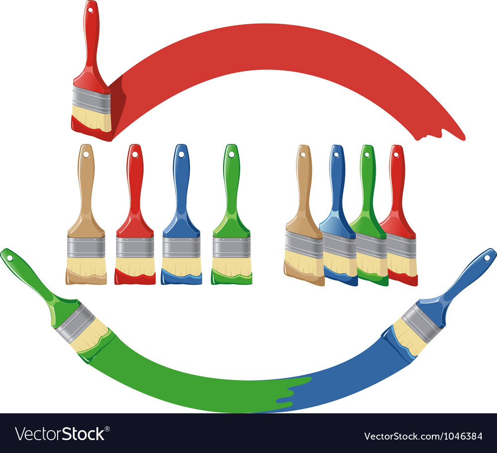 Paint brush and dab paint multi color set vector | Price: 1 Credit (USD $1)