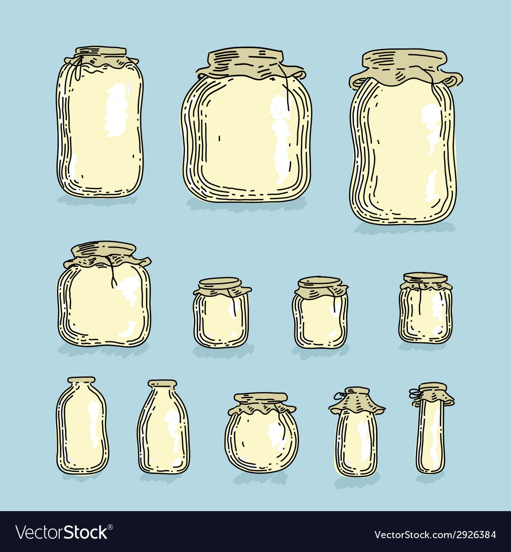 Set glass jars vector | Price: 1 Credit (USD $1)