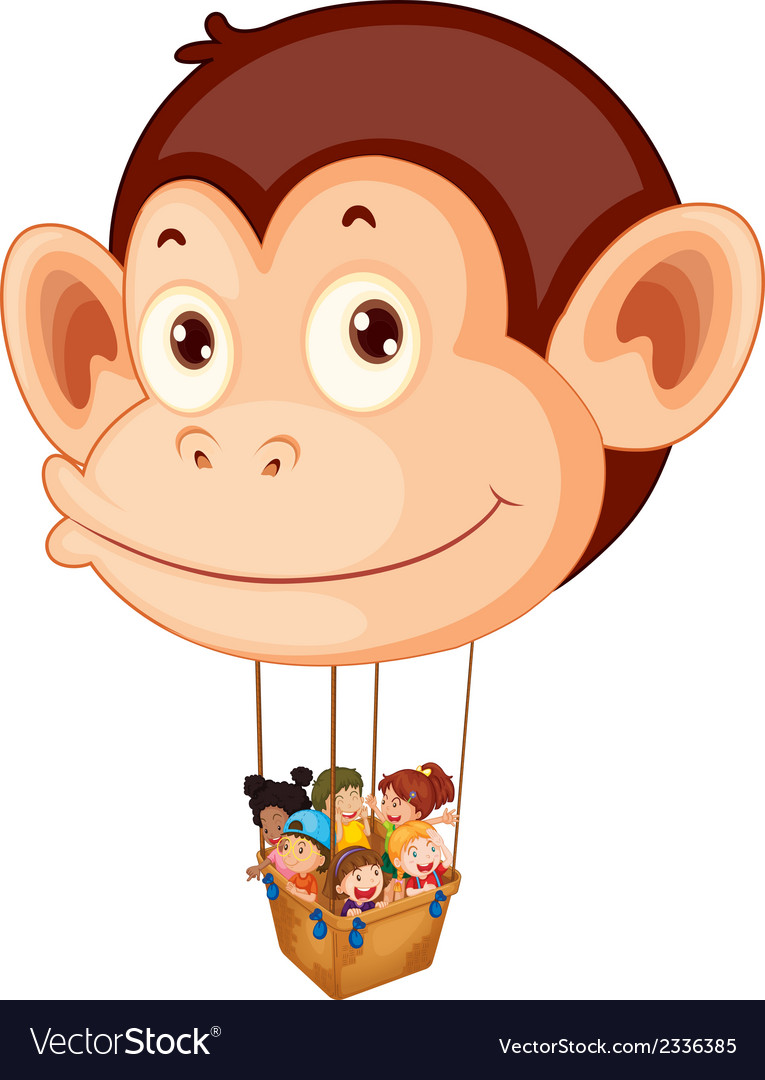 A big monkey balloon with a basket full of kids vector | Price: 1 Credit (USD $1)