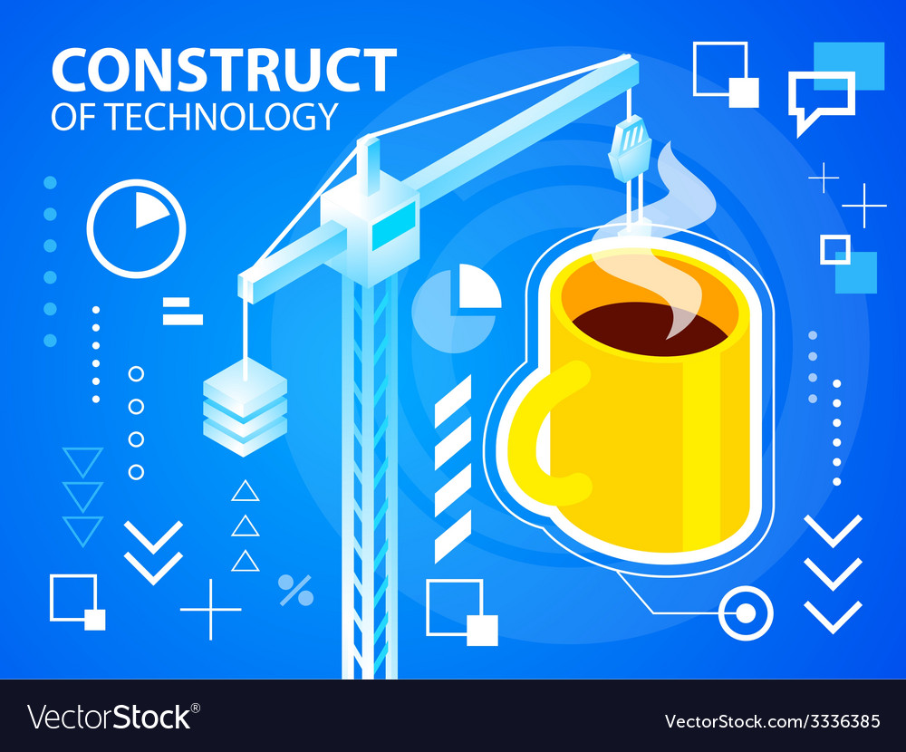 Bright construct crine and coffee on blue ba vector | Price: 3 Credit (USD $3)