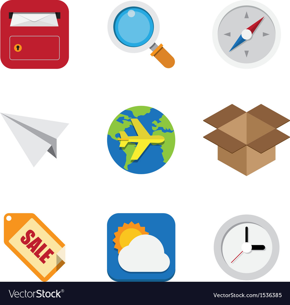 Business and interface flat icons set vector | Price: 1 Credit (USD $1)