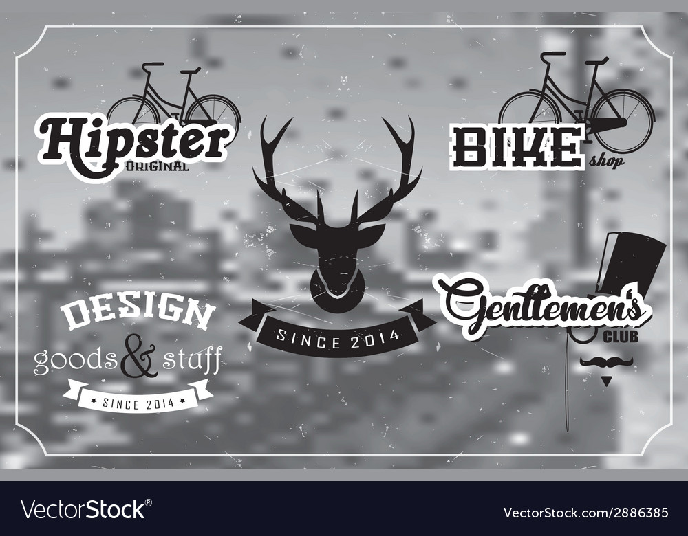 Collection of vintage retro labels badges stamps vector   Price: 1 Credit (USD $1)