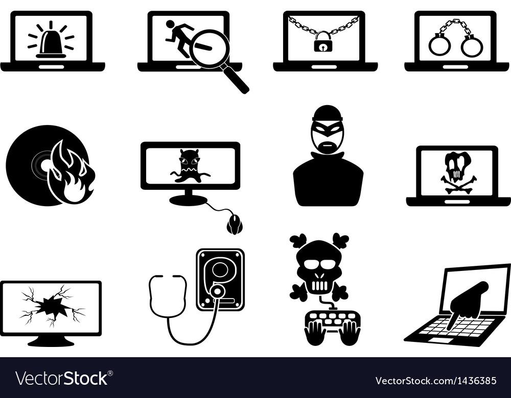 Computer security and cyber thift icons vector | Price: 1 Credit (USD $1)