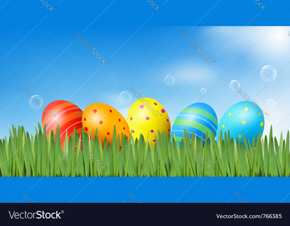 Easter background with easter eggs vector | Price: 3 Credit (USD $3)