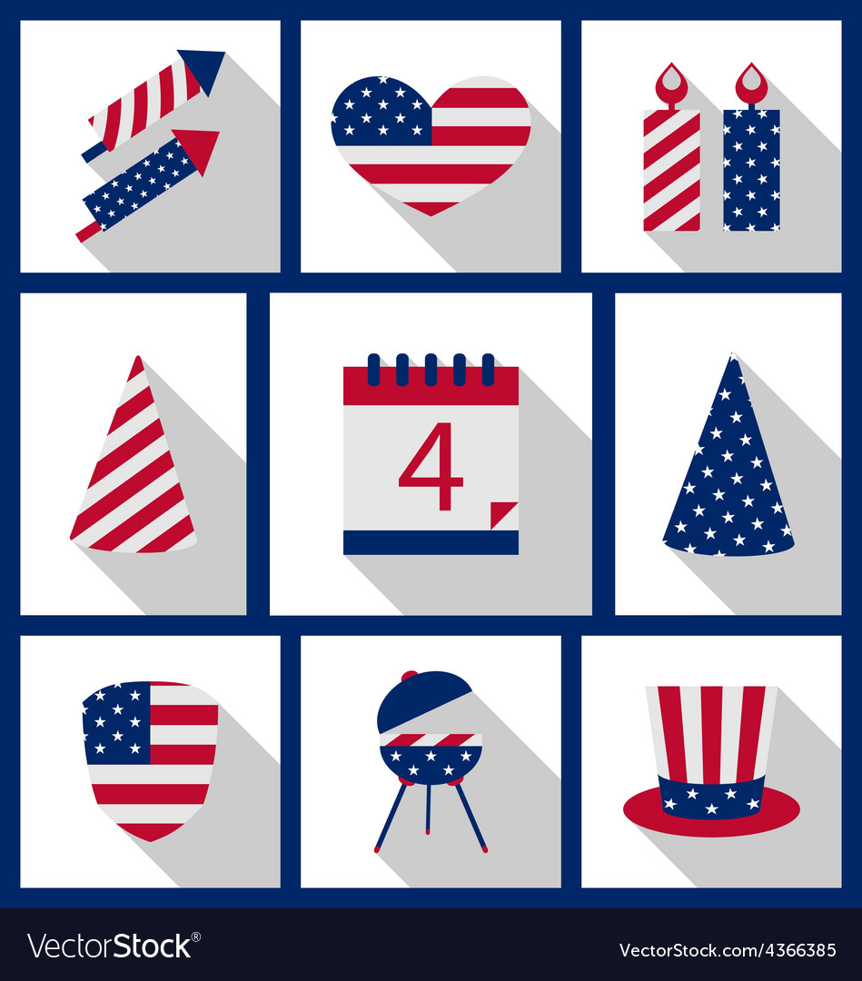 Icons set usa flag color independence day 4th of vector | Price: 1 Credit (USD $1)