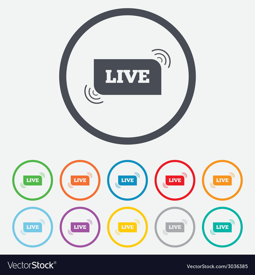 Live sign icon on air stream symbol vector | Price: 1 Credit (USD $1)