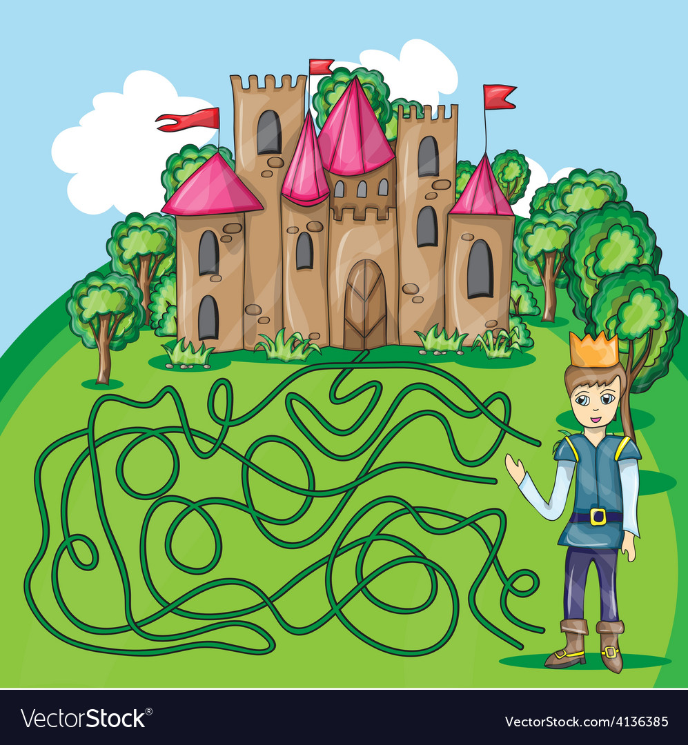 Maze game - hehp princ find the way to his castle vector | Price: 3 Credit (USD $3)