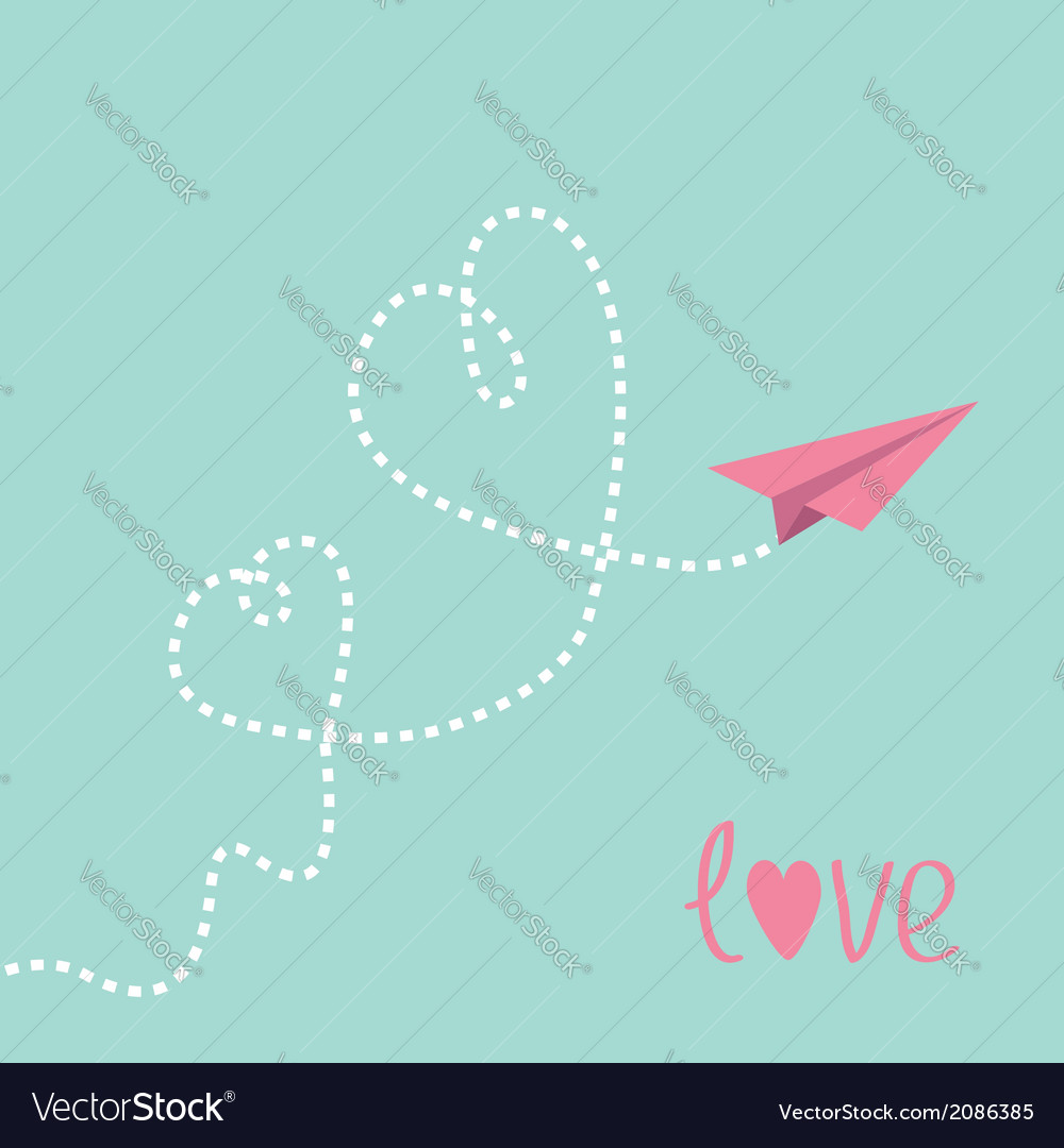 Origami paper plane two dash heart in the sky love vector | Price: 1 Credit (USD $1)