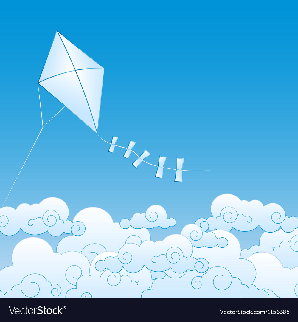 Paper kite up in the clouds vector | Price: 1 Credit (USD $1)