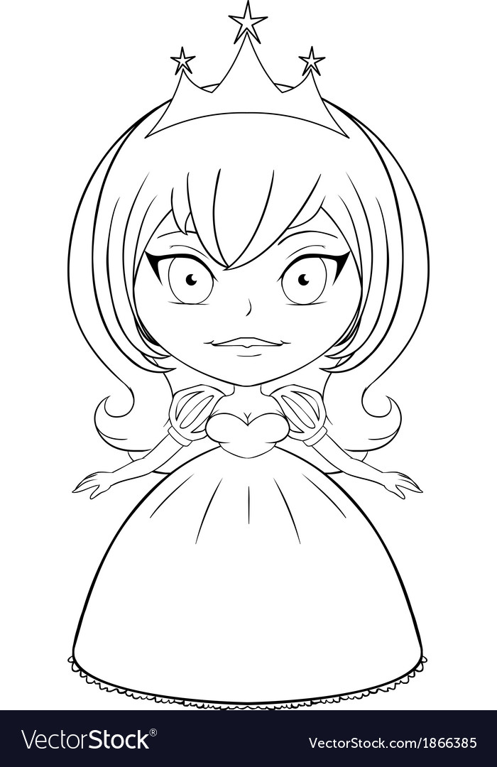Princess coloring page 5 vector | Price: 1 Credit (USD $1)