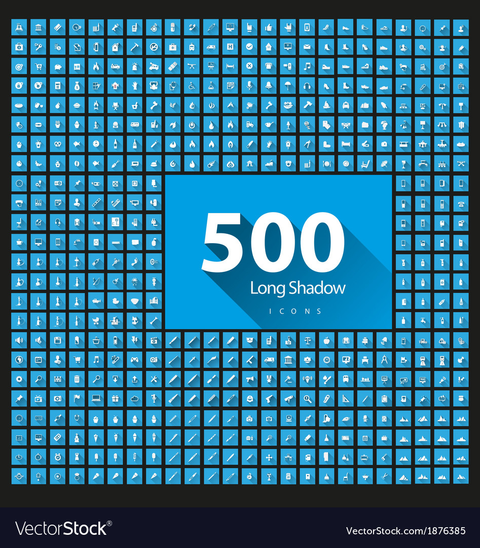 Set of 500 icons long shadow vector | Price: 1 Credit (USD $1)