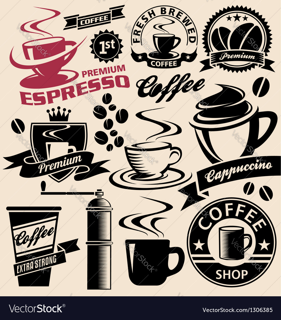 Set of coffee symbols icons and signs vector | Price: 1 Credit (USD $1)