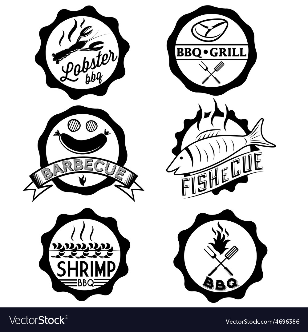 Bbq seafood steak labels icons badges template set vector | Price: 1 Credit (USD $1)