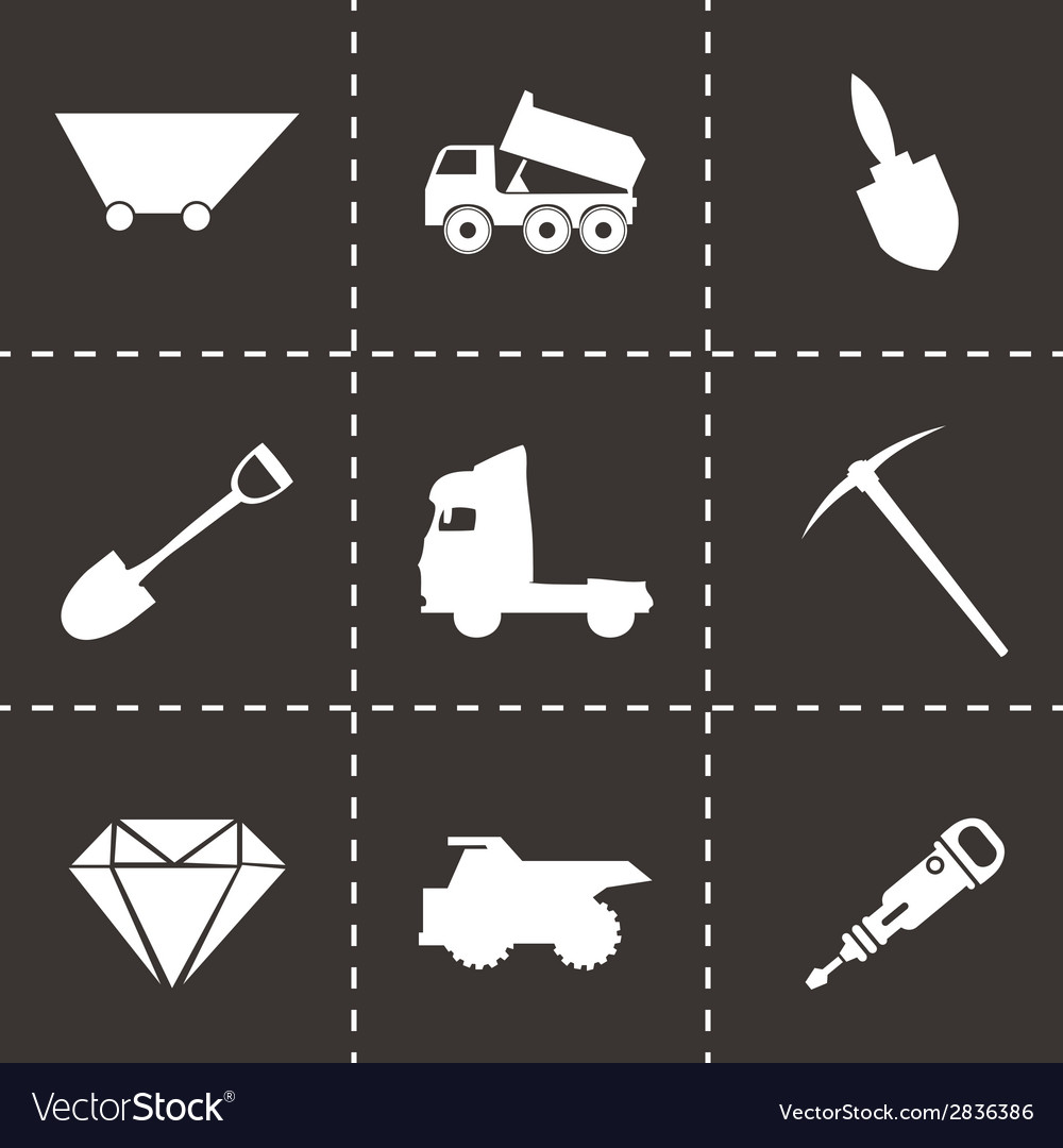 Black mining icons set vector | Price: 1 Credit (USD $1)