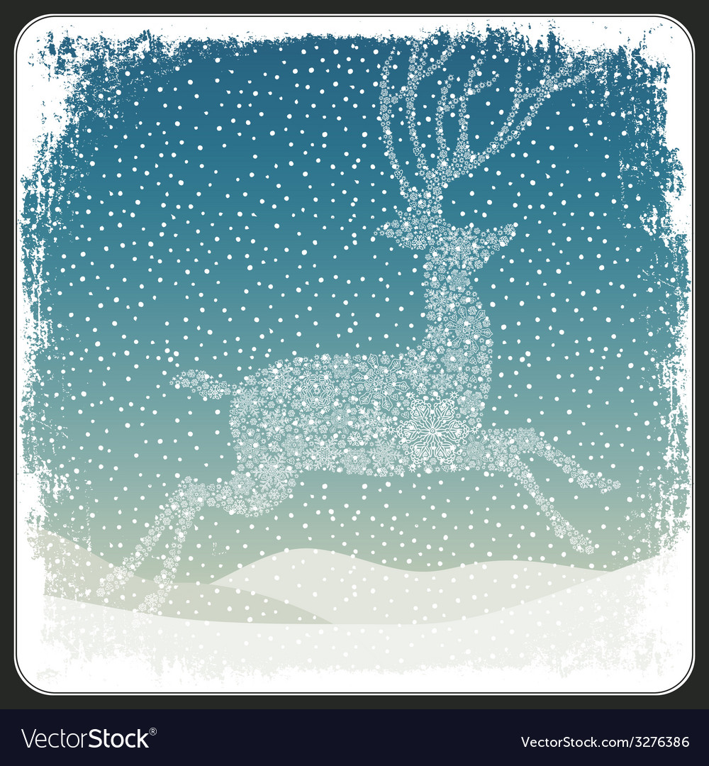 Christmas deer background vintage vector | Price: 1 Credit (USD $1)