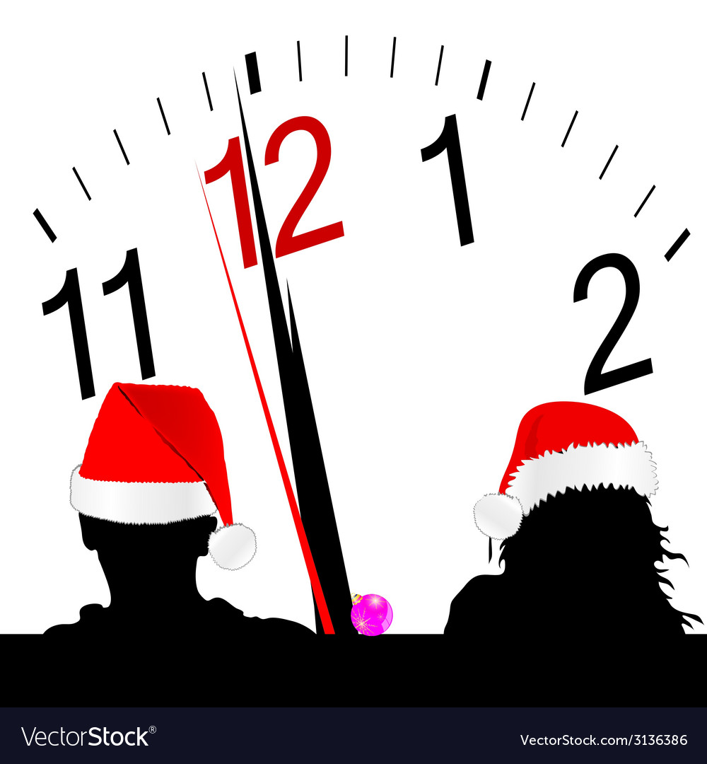 Couple with red hat and a clock in the background vector | Price: 1 Credit (USD $1)