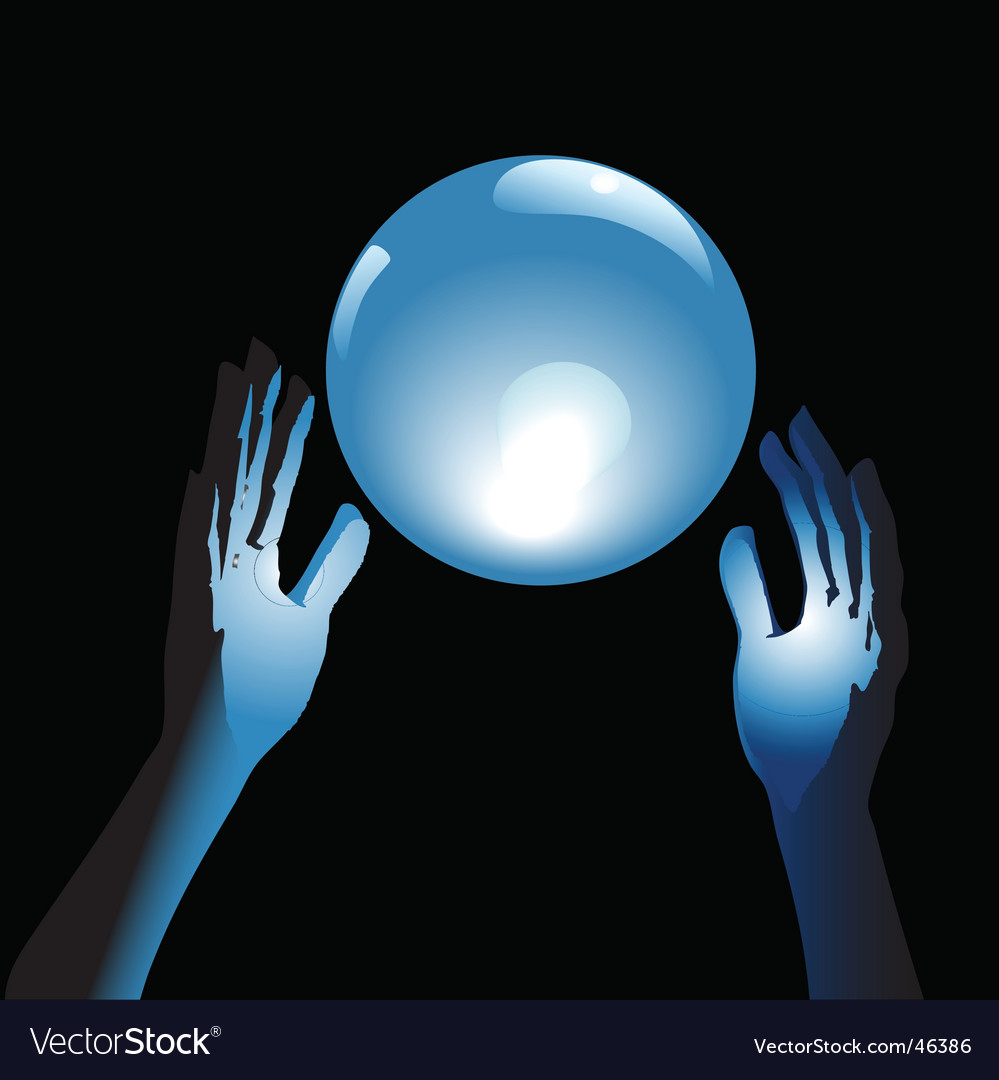 Crystal ball future in hands vector | Price: 1 Credit (USD $1)