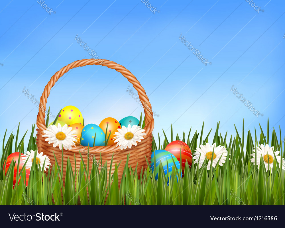 Easter background easter eggs and flower with vector | Price: 1 Credit (USD $1)