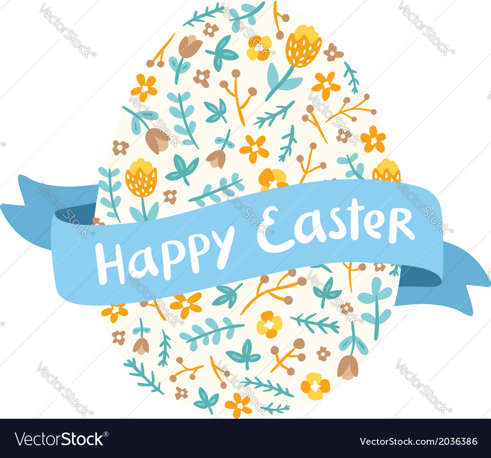 Easter floral egg greetings vector | Price: 1 Credit (USD $1)