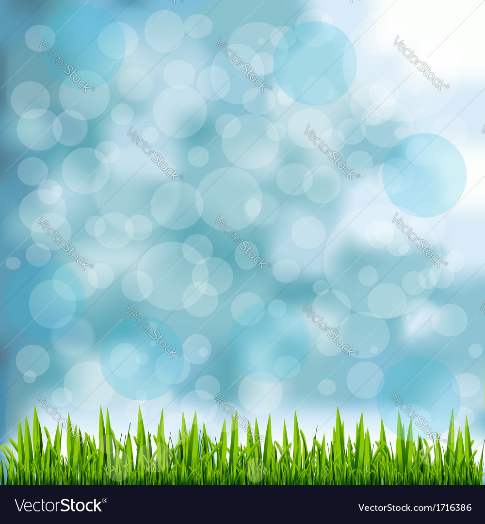Grass border on natural blue background vector | Price: 1 Credit (USD $1)