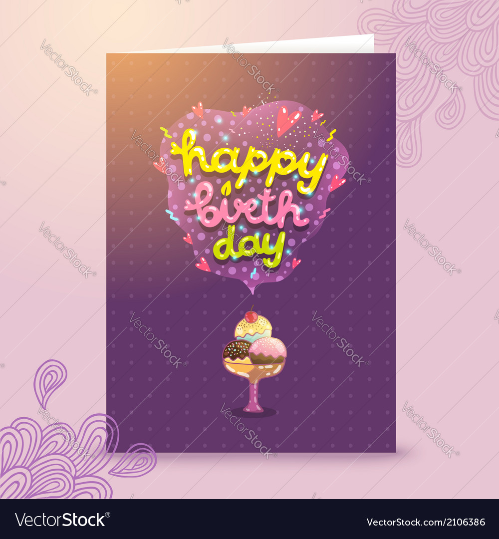 Happy birthday postcard template with ice cream vector | Price: 1 Credit (USD $1)