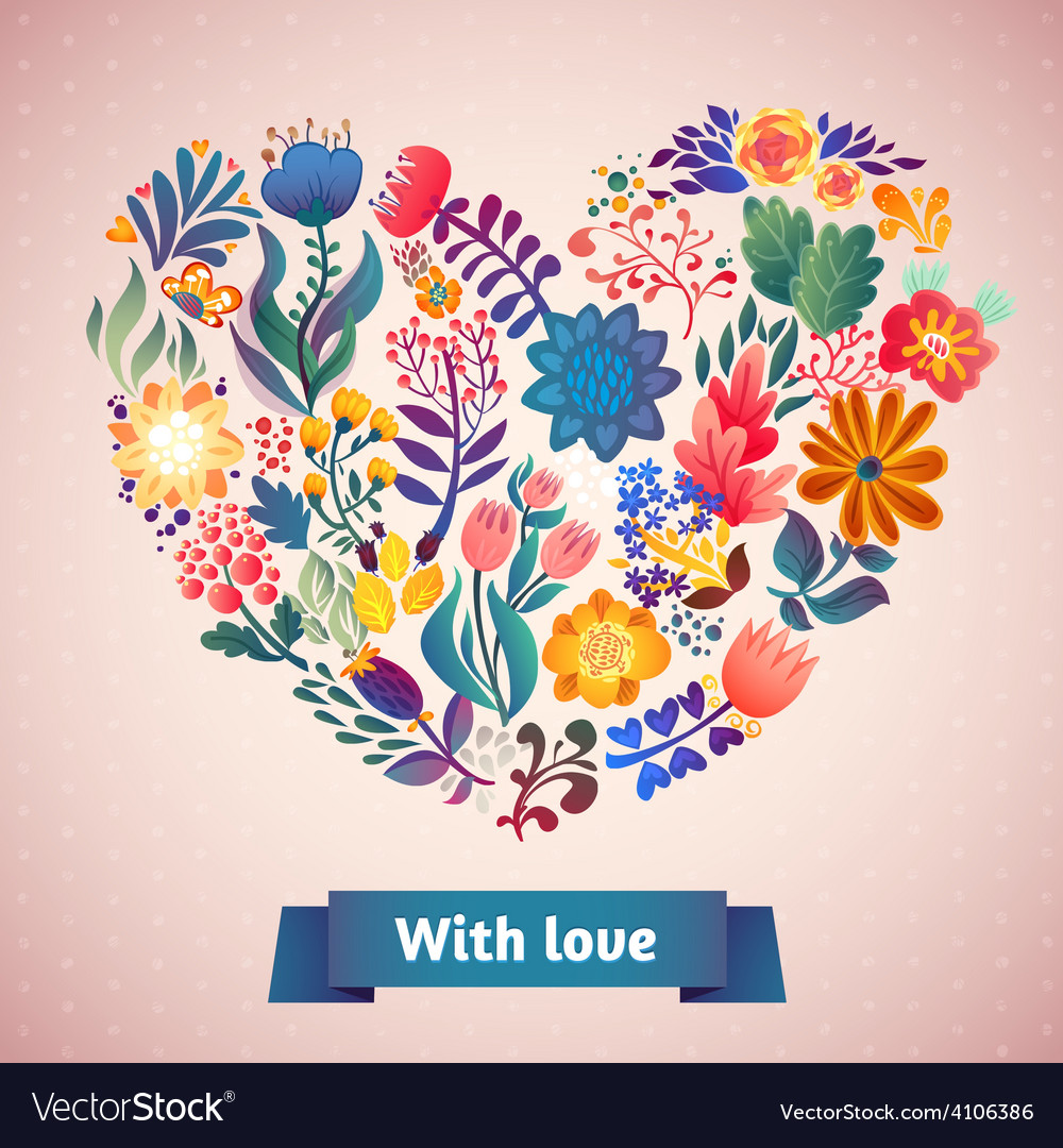 Love card with floral bouquet vector | Price: 1 Credit (USD $1)