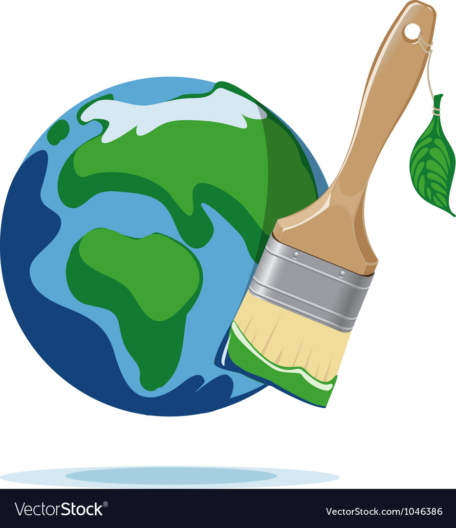 Paint brush and planet earth vector | Price: 1 Credit (USD $1)