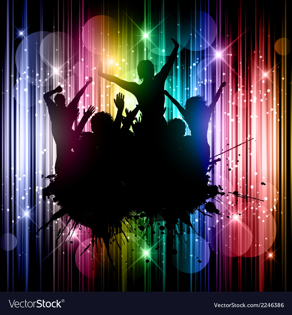 Silhouette of a grunge party crowd on an abstract vector | Price: 1 Credit (USD $1)