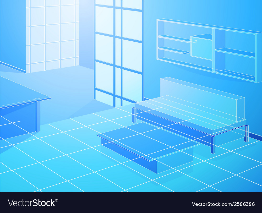 Wireframe blue living room vector | Price: 1 Credit (USD $1)