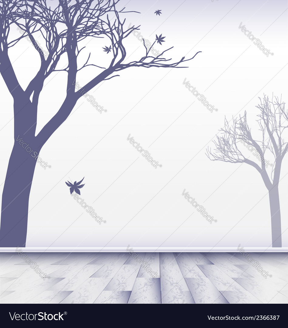 Abstract white room with trees vector | Price: 1 Credit (USD $1)