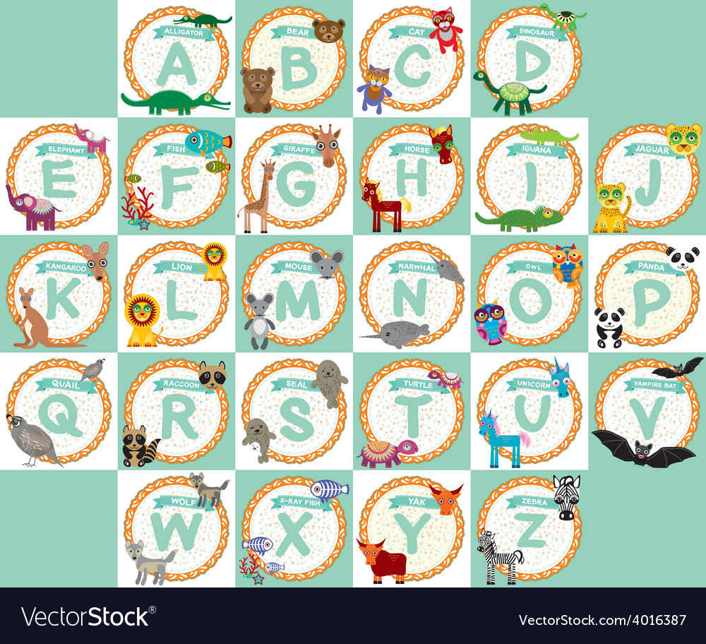 Alphabet for kids from a to z set of funny cartoon vector | Price: 1 Credit (USD $1)