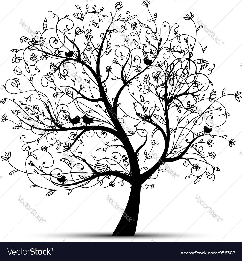Art tree beautiful black silhouette vector | Price: 1 Credit (USD $1)