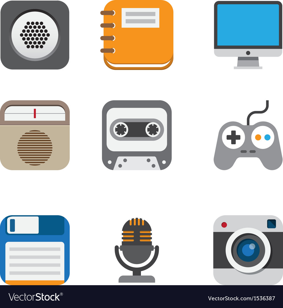 Business and interface flat icons set eps10 vector | Price: 1 Credit (USD $1)
