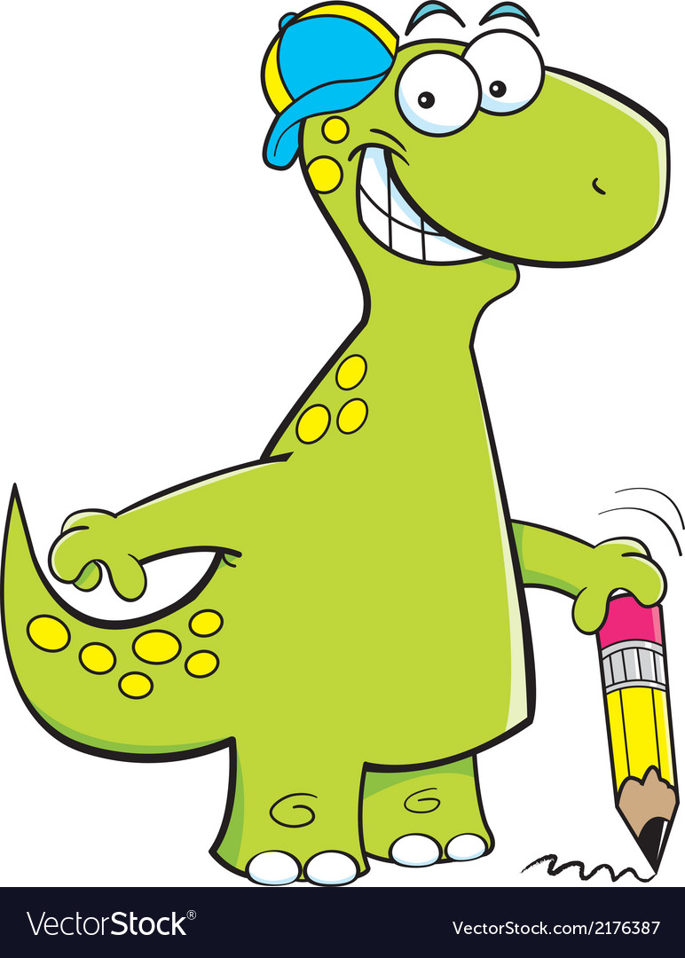 Cartoon brontosaurus holding a pencil vector | Price: 1 Credit (USD $1)