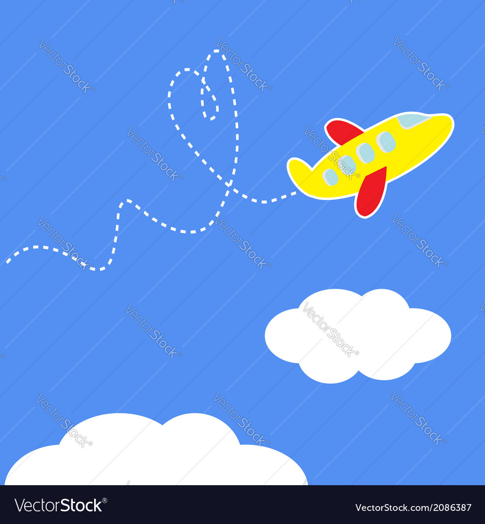 Cartoon plane dash heart in the sky love card vector | Price: 1 Credit (USD $1)