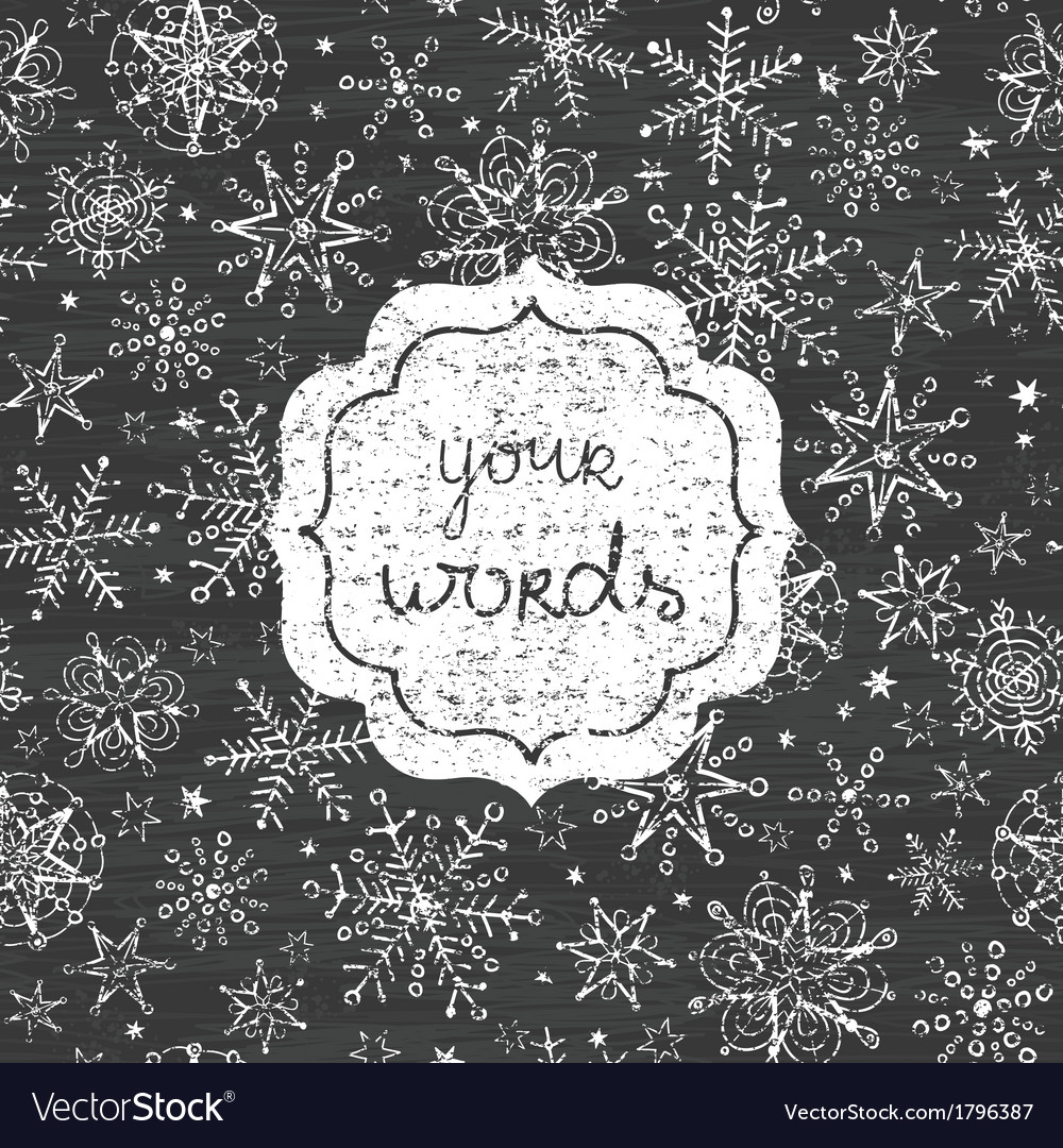 Chalkboard snowflakes black and white frame vector | Price: 1 Credit (USD $1)
