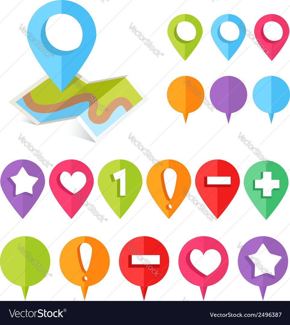 Colorful web buttons and map location pointers vector | Price: 1 Credit (USD $1)