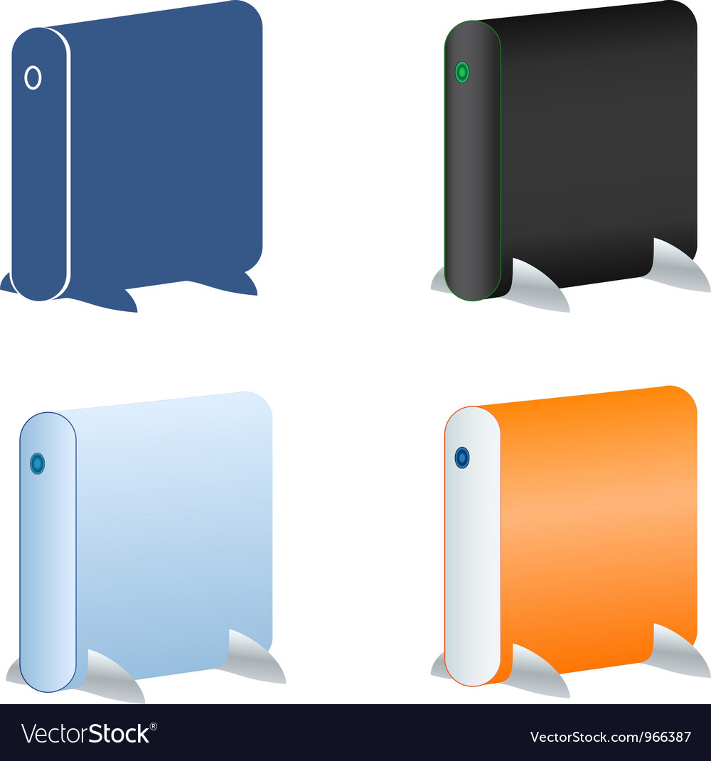 External hdd icons set vector | Price: 1 Credit (USD $1)